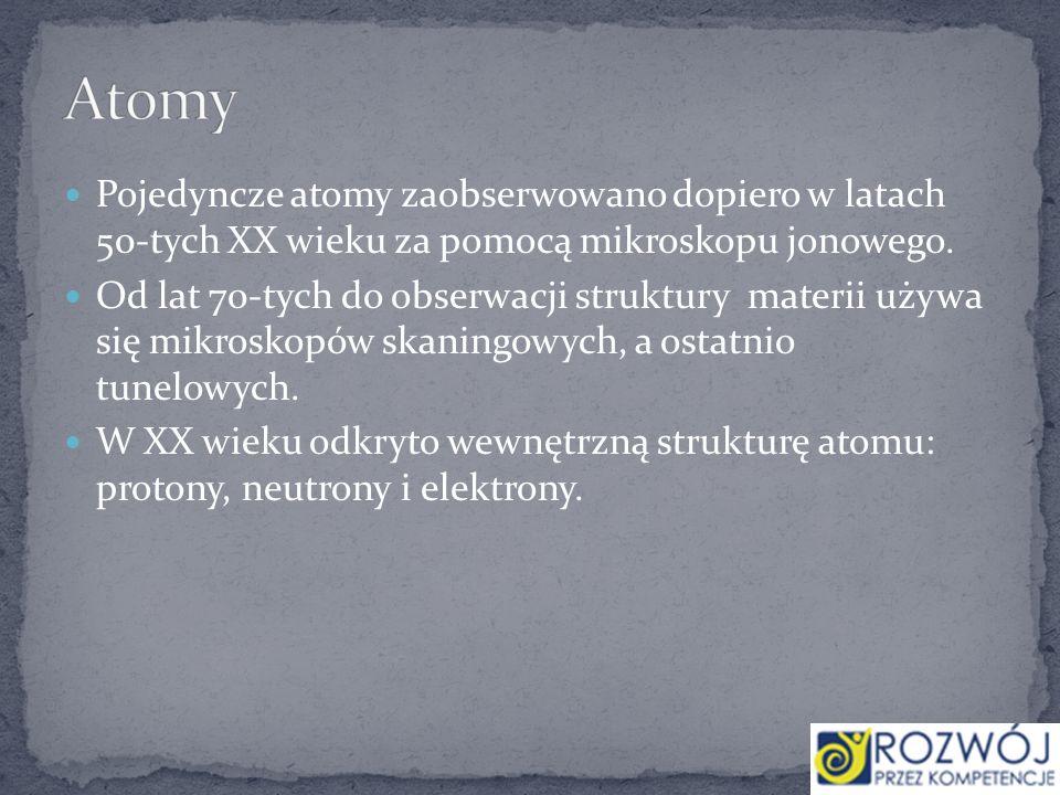 Atomy Pojedyncze atomy zaobserwowano dopiero w latach 50-tych XX wieku za pomocą mikroskopu jonowego.