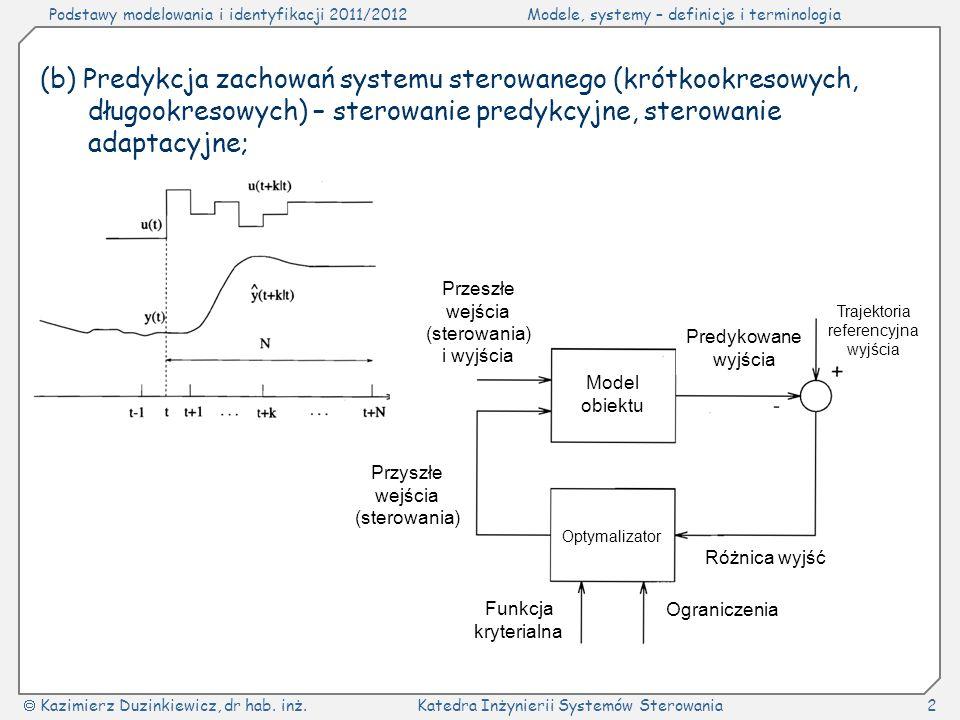 (b) Predykcja zachowań systemu sterowanego (krótkookresowych, długookresowych) – sterowanie predykcyjne, sterowanie adaptacyjne;