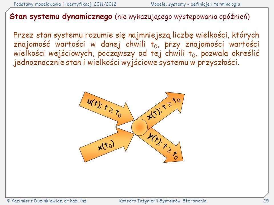 Stan systemu dynamicznego (nie wykazującego występowania opóźnień)