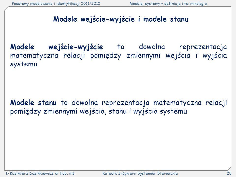 Modele wejście-wyjście i modele stanu