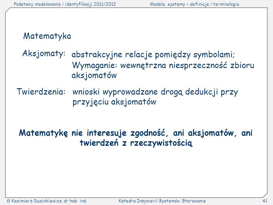 Matematyka Aksjomaty: abstrakcyjne relacje pomiędzy symbolami; Wymaganie: wewnętrzna niesprzeczność zbioru aksjomatów.