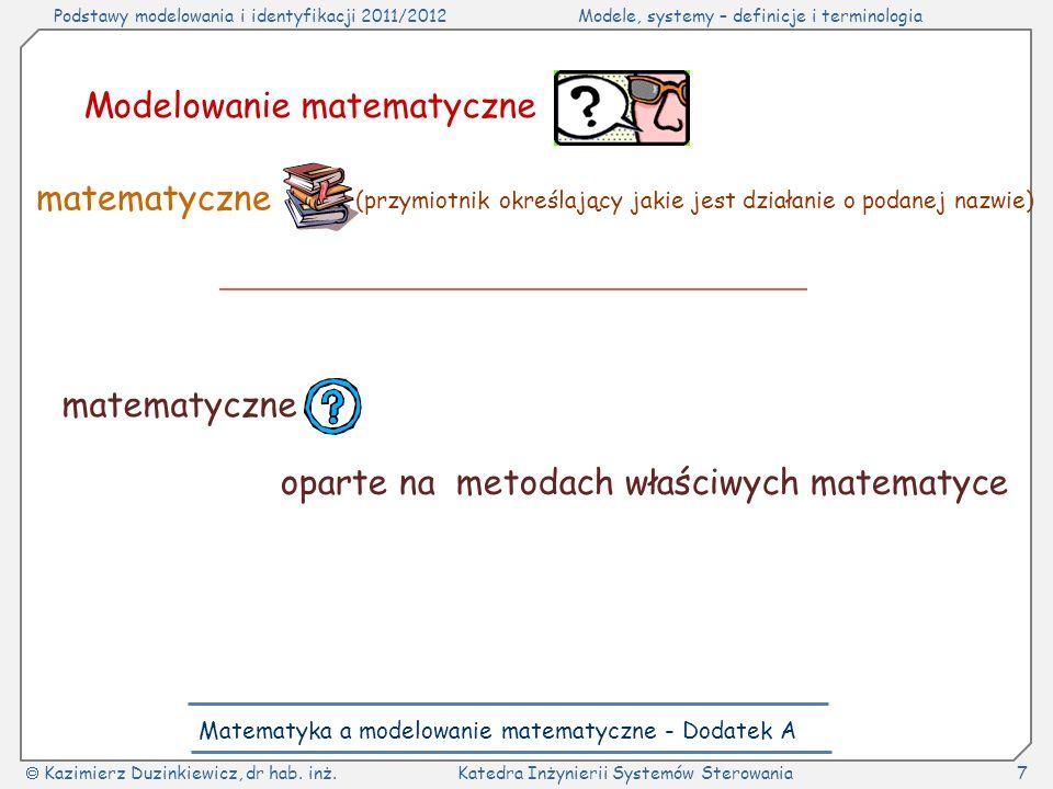 Matematyka a modelowanie matematyczne - Dodatek A