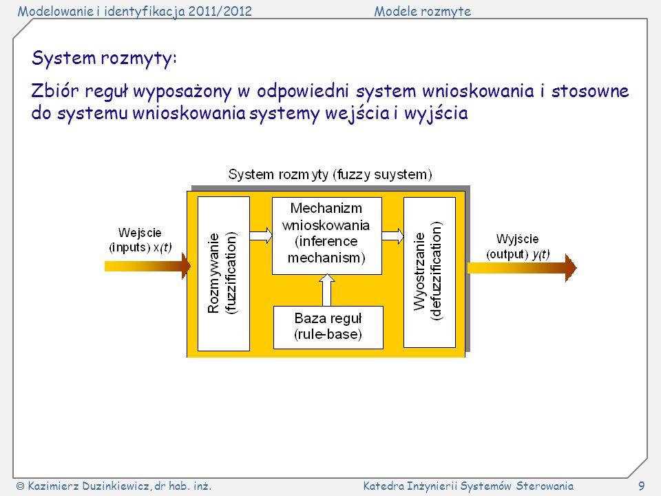 System rozmyty: Zbiór reguł wyposażony w odpowiedni system wnioskowania i stosowne do systemu wnioskowania systemy wejścia i wyjścia.