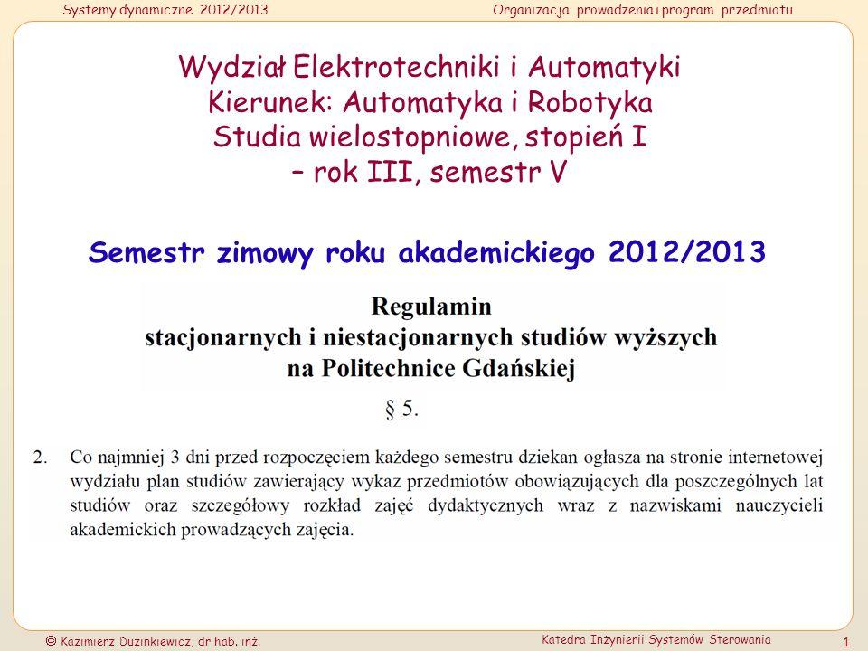 Semestr zimowy roku akademickiego 2012/2013