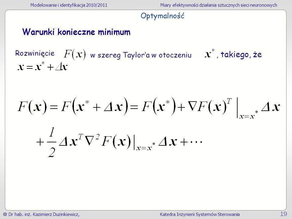 Optymalność Warunki konieczne minimum Rozwinięcie , takiego, że w szereg Taylor'a w otoczeniu