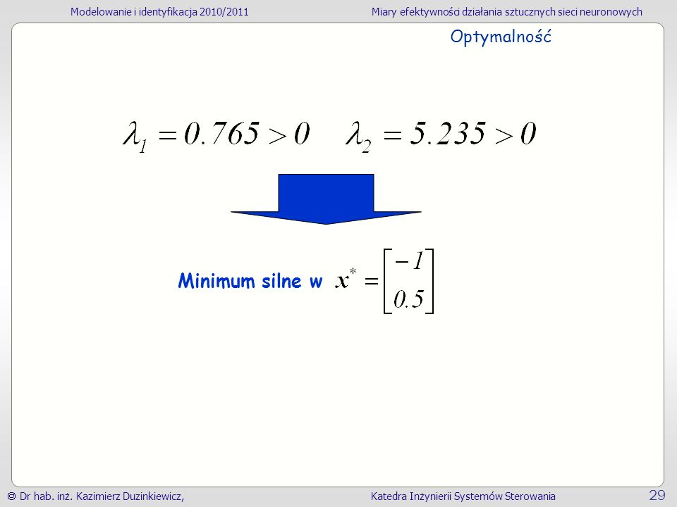 Optymalność Minimum silne w