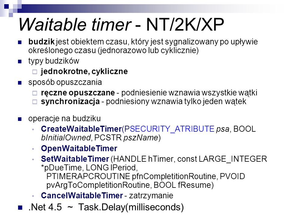Waitable timer - NT/2K/XP