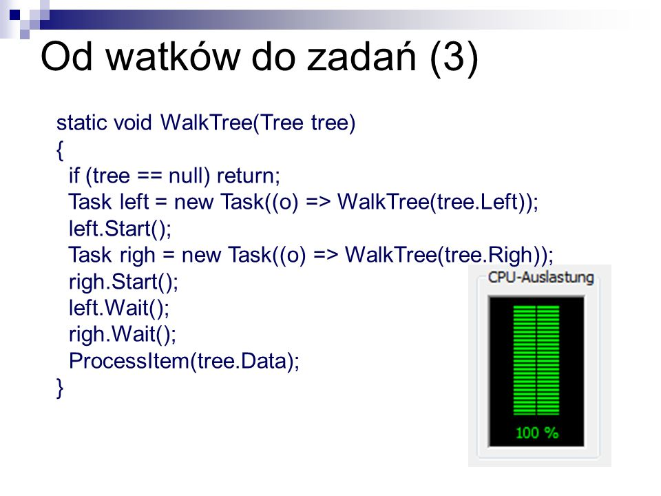 Od watków do zadań (3) static void WalkTree(Tree tree) {