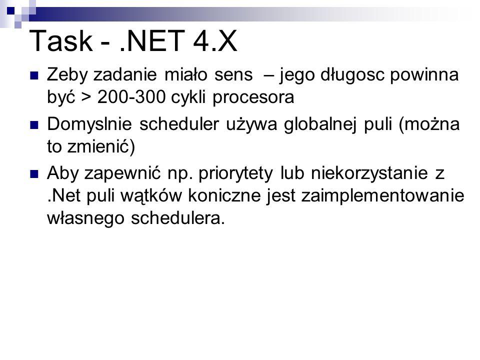 Task - .NET 4.X Zeby zadanie miało sens – jego długosc powinna być > 200-300 cykli procesora.
