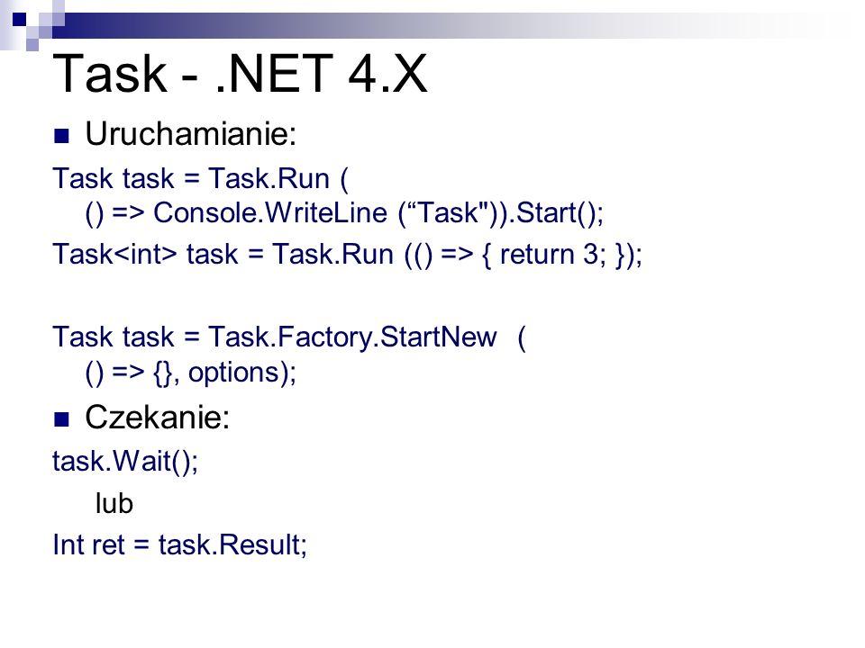 Task - .NET 4.X Uruchamianie: Czekanie: