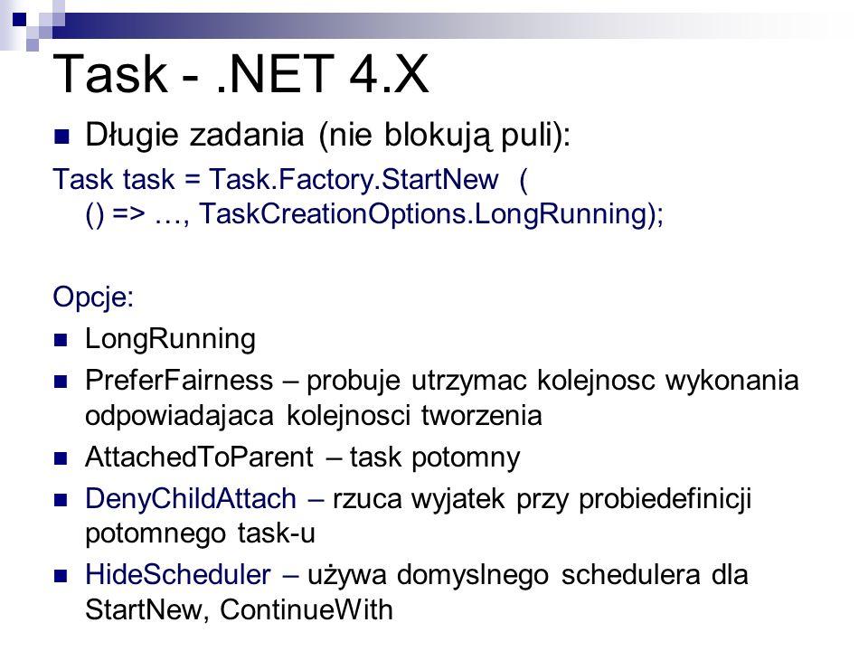 Task - .NET 4.X Długie zadania (nie blokują puli):