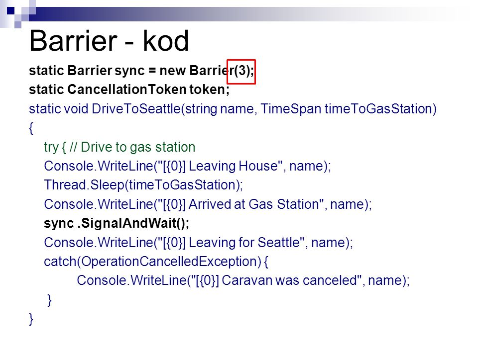 Barrier - kod