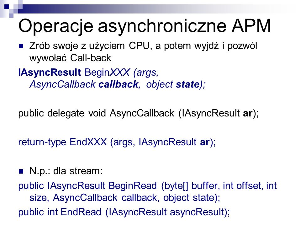 Operacje asynchroniczne APM