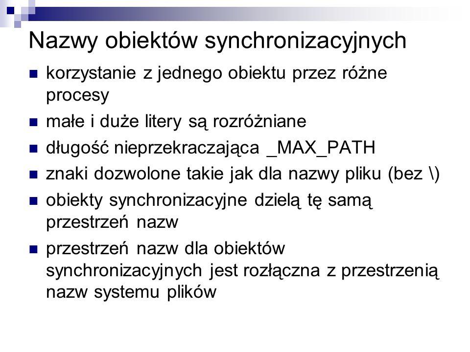 Nazwy obiektów synchronizacyjnych