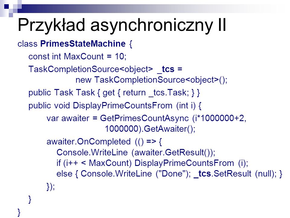 Przykład asynchroniczny II