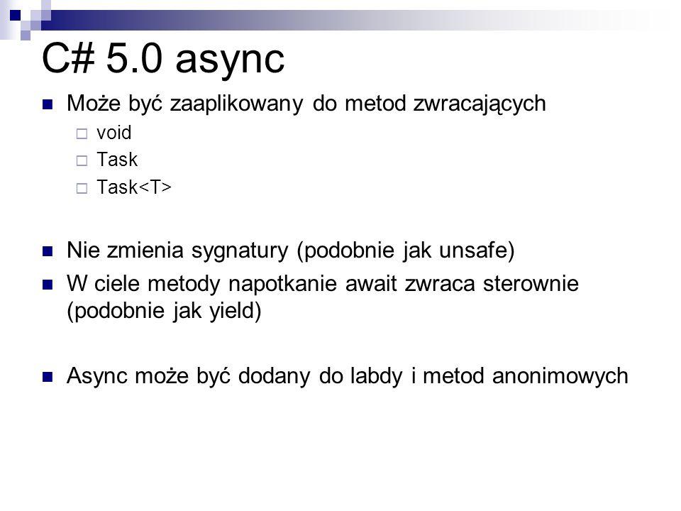 C# 5.0 async Może być zaaplikowany do metod zwracających