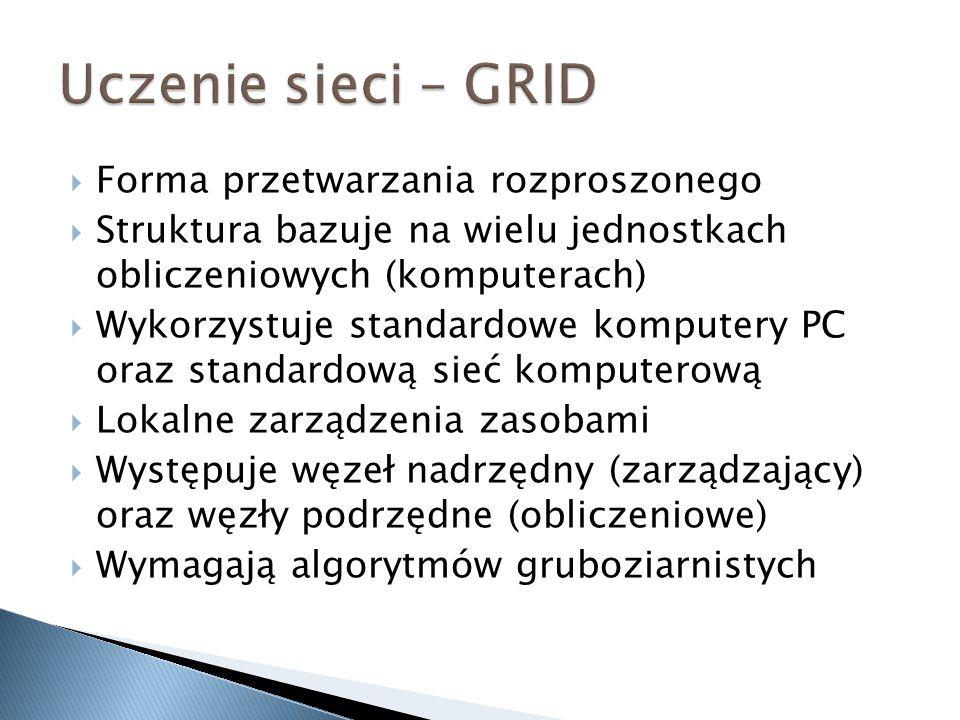 Uczenie sieci – GRID Forma przetwarzania rozproszonego