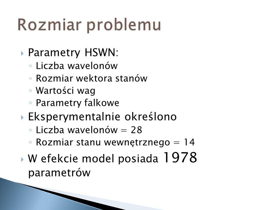 Rozmiar problemu Parametry HSWN: Eksperymentalnie określono