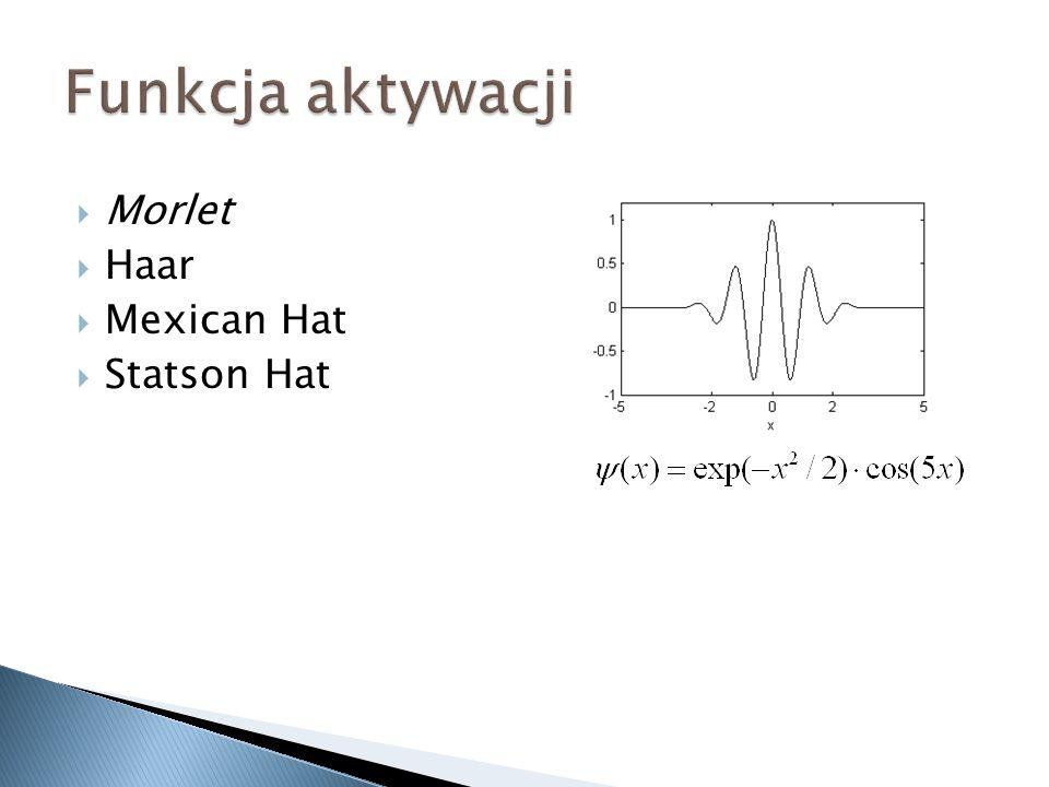 Funkcja aktywacji Morlet Haar Mexican Hat Statson Hat
