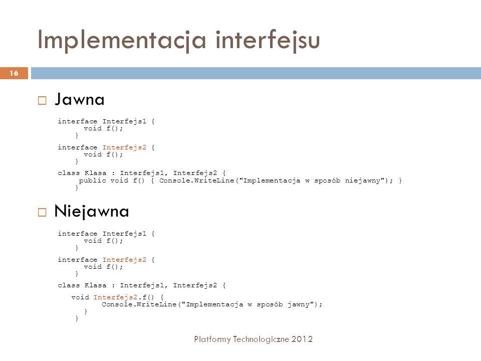 Implementacja interfejsu