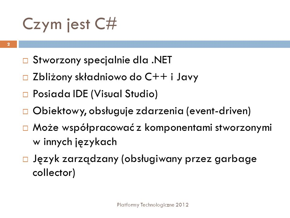 Czym jest C# Stworzony specjalnie dla .NET