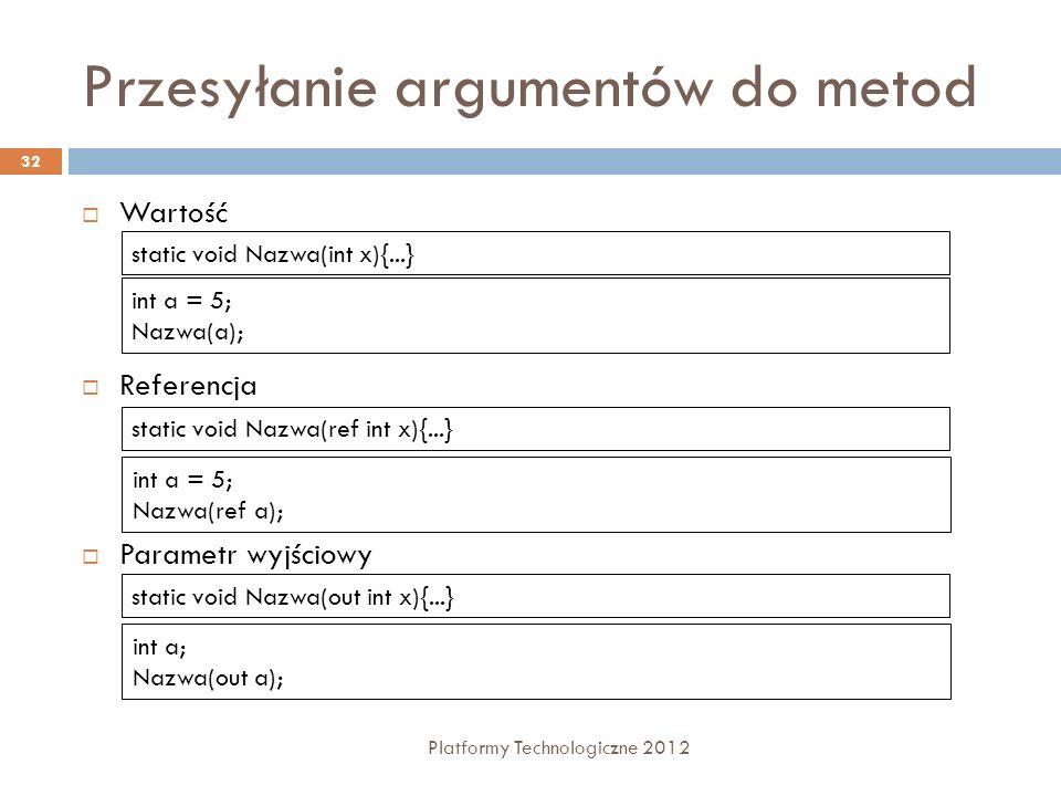 Przesyłanie argumentów do metod