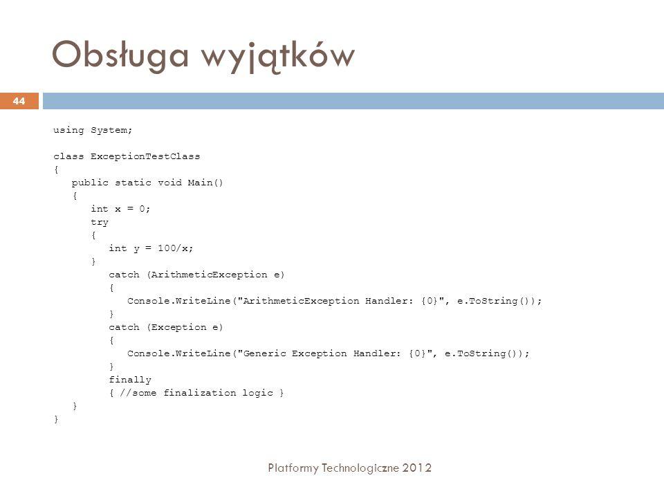 Obsługa wyjątków Platformy Technologiczne 2012 using System;