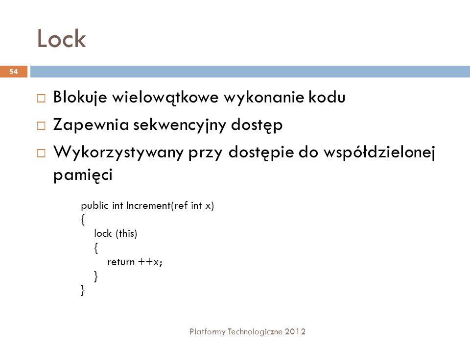 Lock Blokuje wielowątkowe wykonanie kodu Zapewnia sekwencyjny dostęp