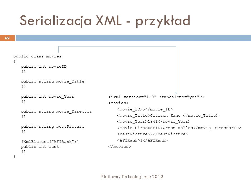 Serializacja XML - przykład