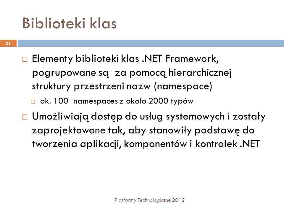 Biblioteki klasElementy biblioteki klas .NET Framework, pogrupowane są za pomocą hierarchicznej struktury przestrzeni nazw (namespace)