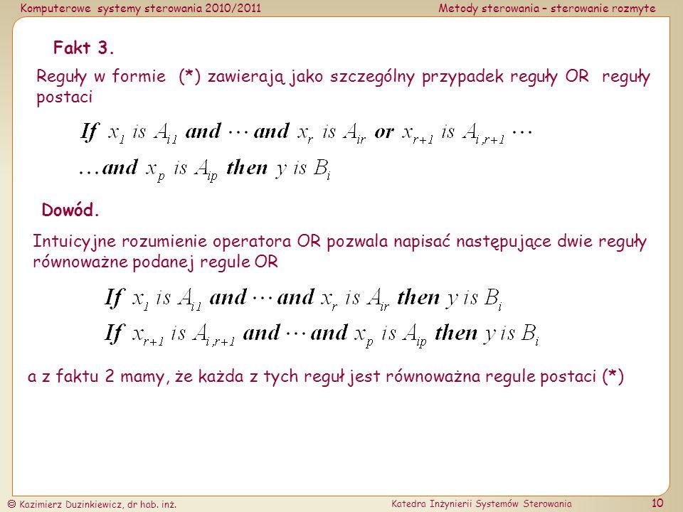 Fakt 3. Reguły w formie (*) zawierają jako szczególny przypadek reguły OR reguły postaci. Dowód.