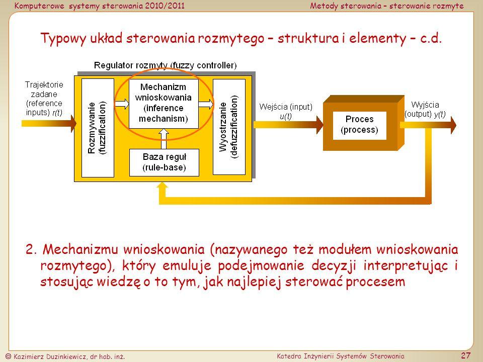 Typowy układ sterowania rozmytego – struktura i elementy – c.d.