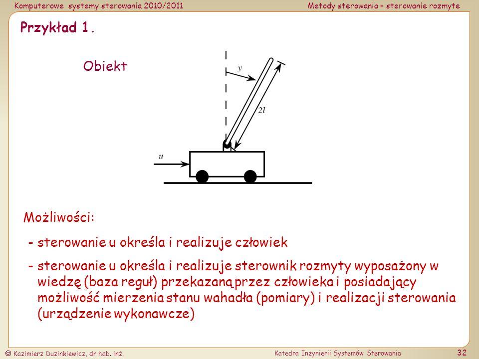 Przykład 1. Obiekt. Możliwości: - sterowanie u określa i realizuje człowiek.