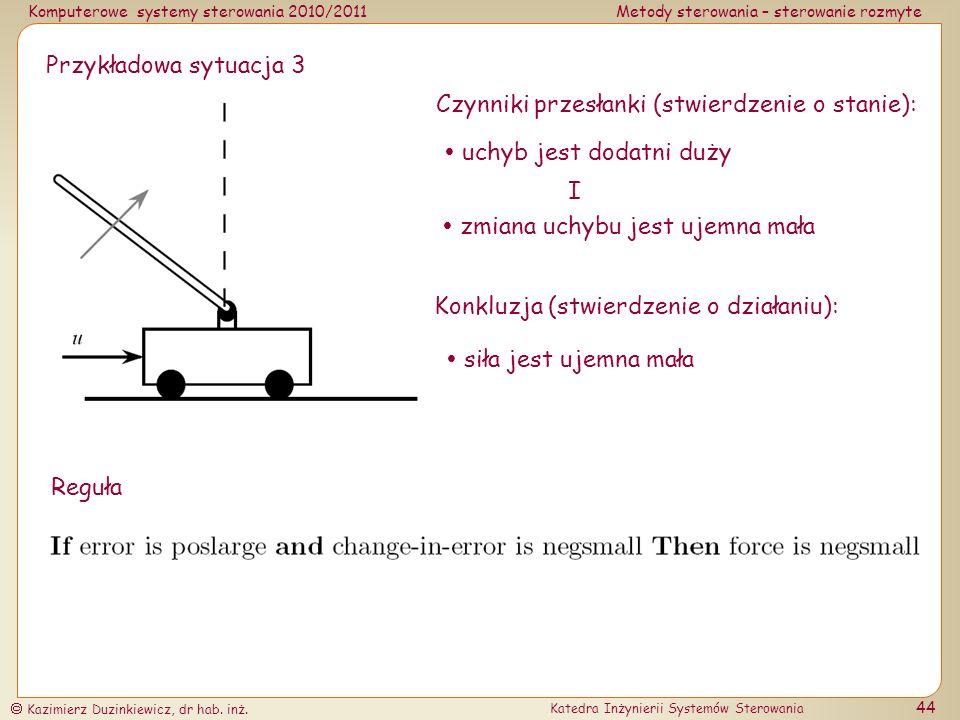 Przykładowa sytuacja 3 Czynniki przesłanki (stwierdzenie o stanie):  uchyb jest dodatni duży. I.