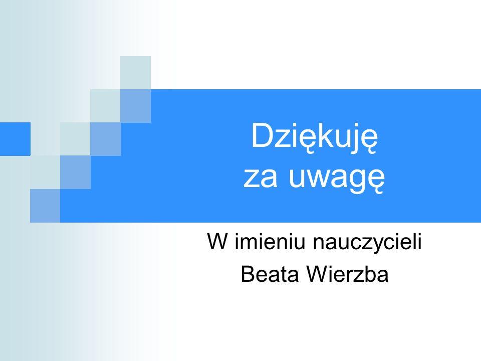 W imieniu nauczycieli Beata Wierzba
