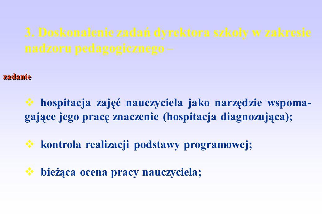 3. Doskonalenie zadań dyrektora szkoły w zakresie nadzoru pedagogicznego –
