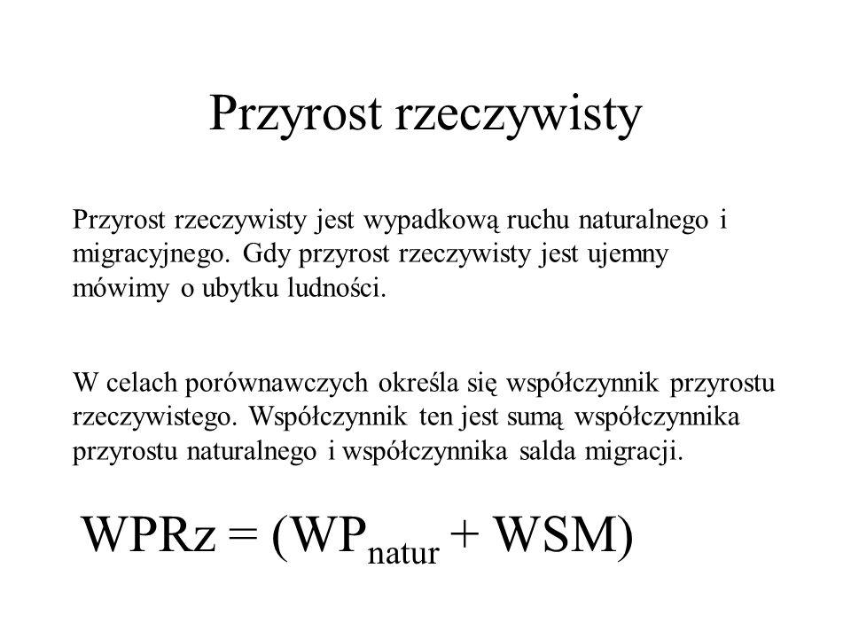 Przyrost rzeczywisty WPRz = (WPnatur + WSM)