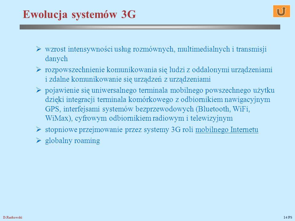 Ewolucja systemów 3G wzrost intensywności usług rozmównych, multimedialnych i transmisji danych.