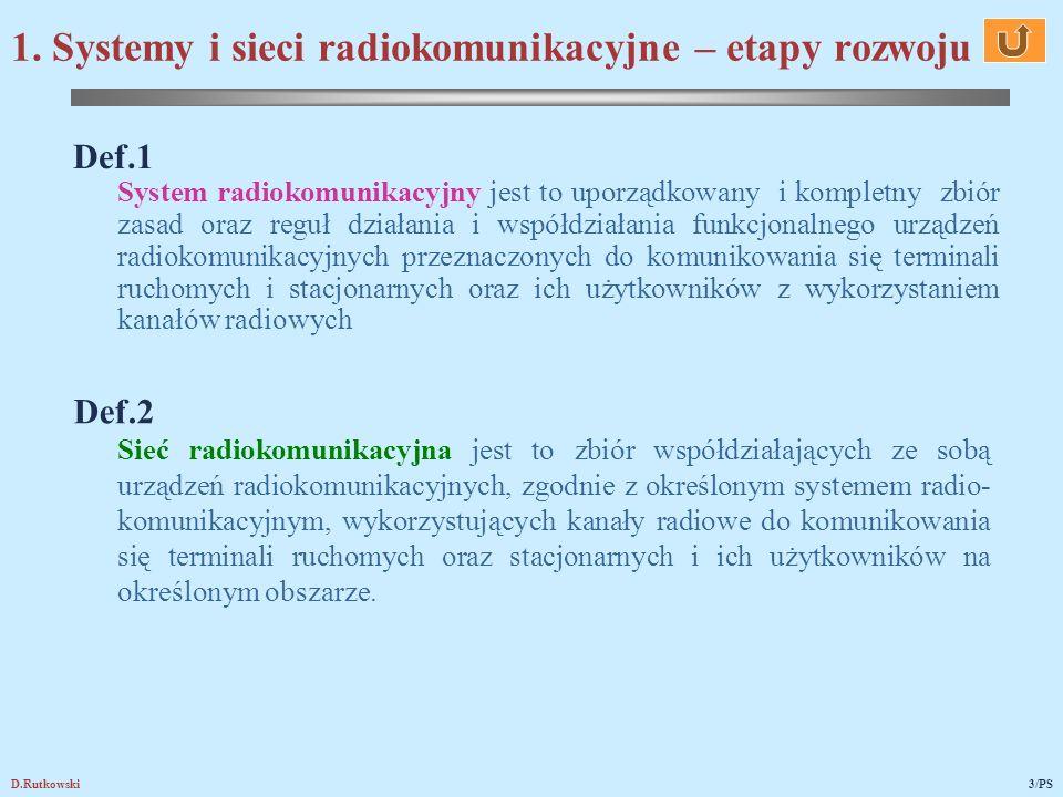 1. Systemy i sieci radiokomunikacyjne – etapy rozwoju