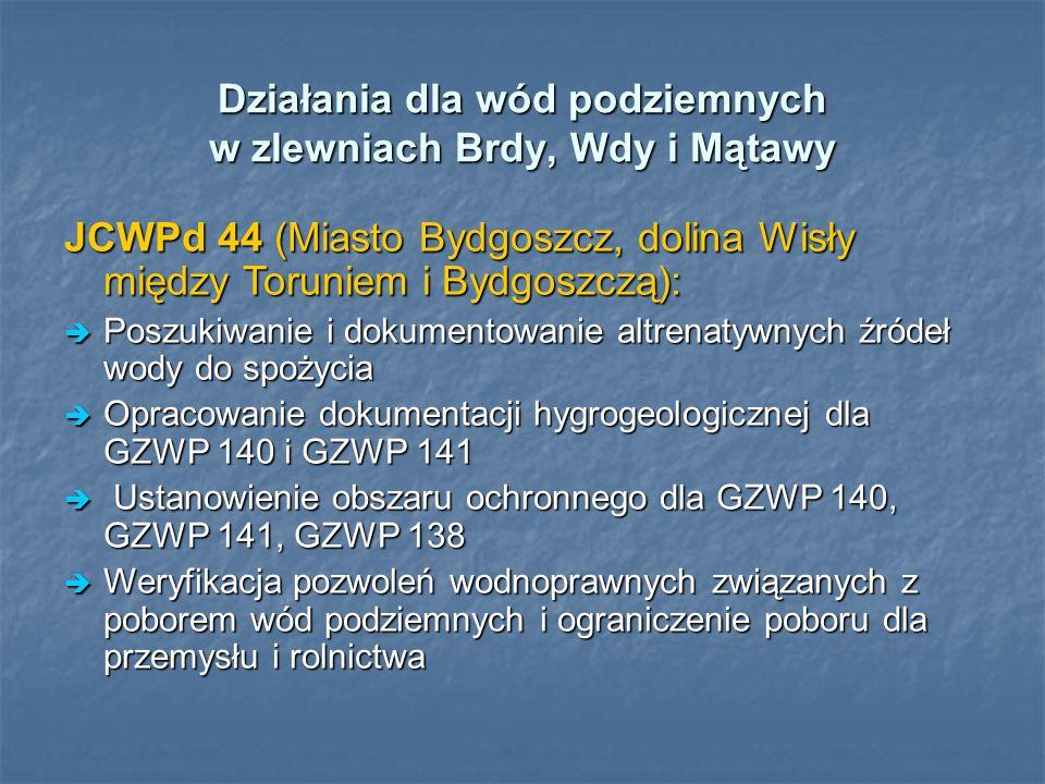 Działania dla wód podziemnych w zlewniach Brdy, Wdy i Mątawy