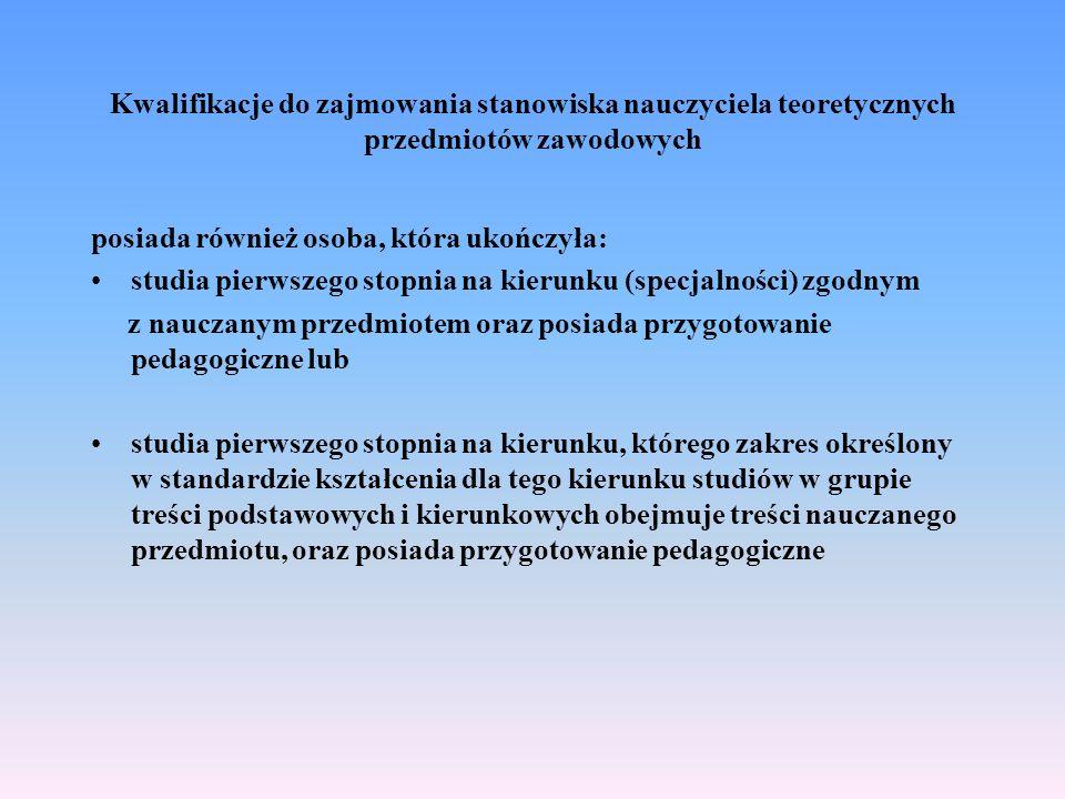 Kwalifikacje do zajmowania stanowiska nauczyciela teoretycznych przedmiotów zawodowych