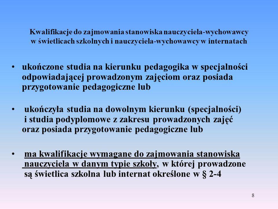 Kwalifikacje do zajmowania stanowiska nauczyciela-wychowawcy w świetlicach szkolnych i nauczyciela-wychowawcy w internatach