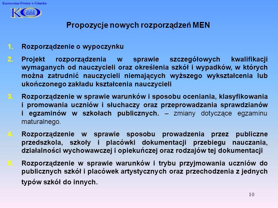 Propozycje nowych rozporządzeń MEN