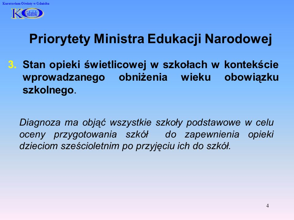 Priorytety Ministra Edukacji Narodowej