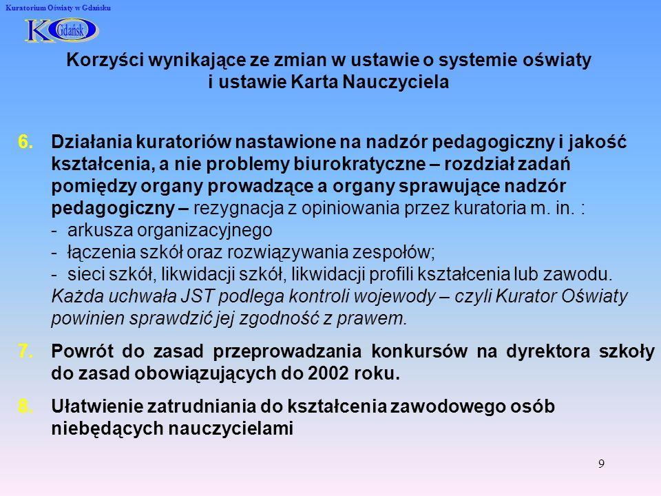 K O. Gdańsk. Kuratorium Oświaty w Gdańsku. Korzyści wynikające ze zmian w ustawie o systemie oświaty i ustawie Karta Nauczyciela.