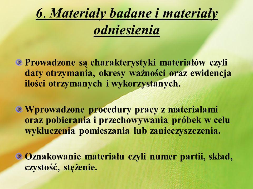 6. Materiały badane i materiały odniesienia