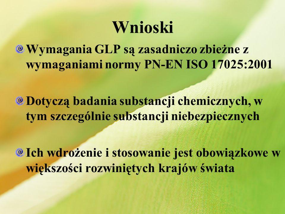 Wnioski Wymagania GLP są zasadniczo zbieżne z wymaganiami normy PN-EN ISO 17025:2001.