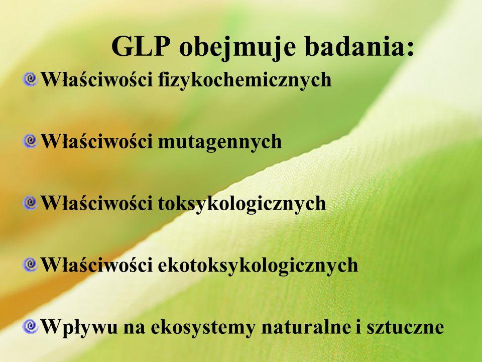 GLP obejmuje badania: Właściwości fizykochemicznych