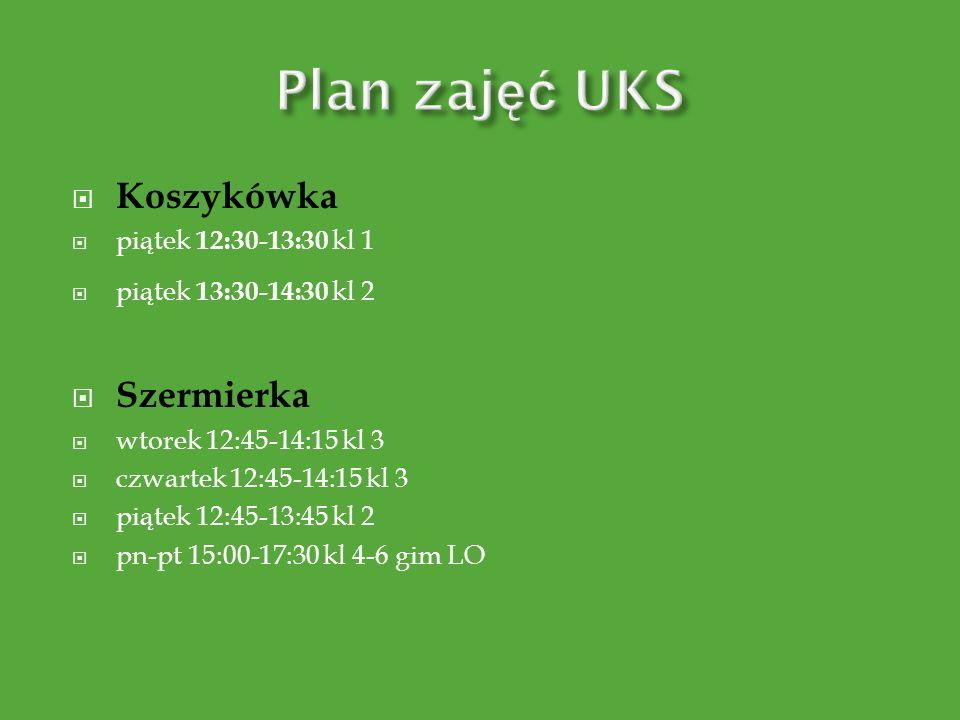 Plan zajęć UKS Koszykówka Szermierka piątek 12:30-13:30 kl 1