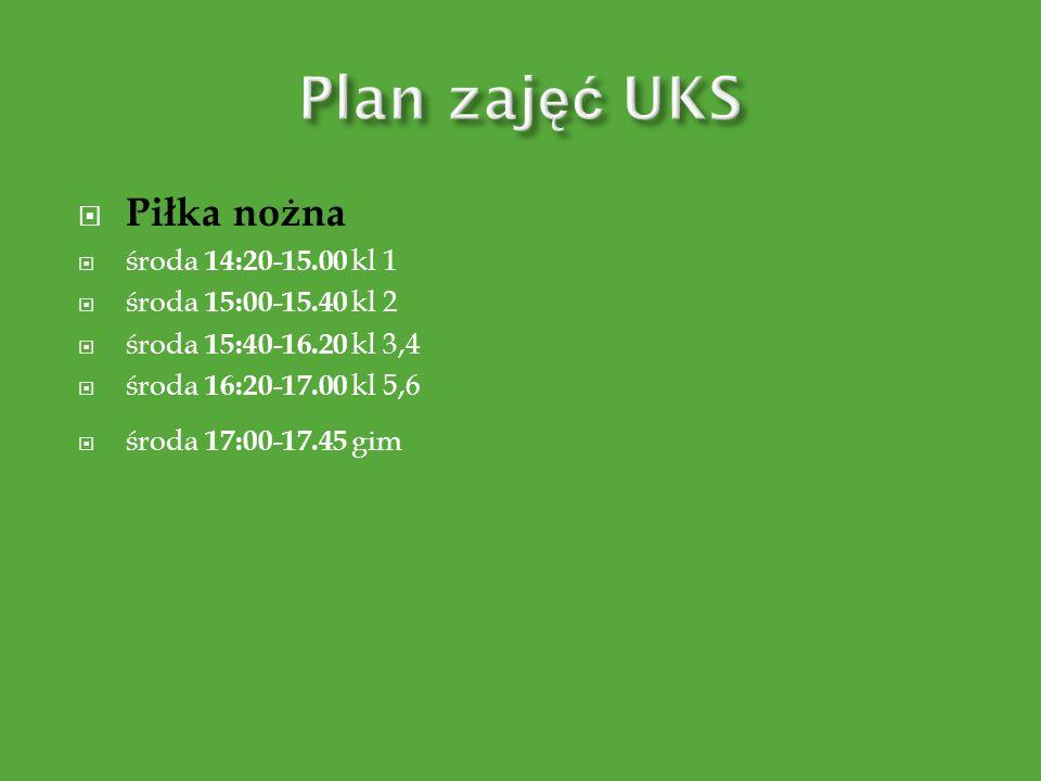 Plan zajęć UKS Piłka nożna środa 14:20-15.00 kl 1